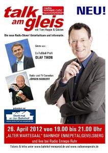 Plakat RadioEn Talk am Gleis