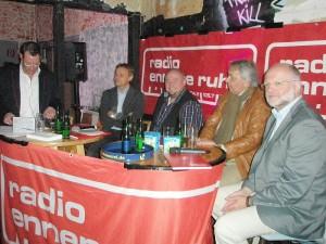 Die Talkrunde von links, Tom Hoppe, Olaf Thon,Jürgen Bangert,Eckhardt Fenner und Dr. Michael Peinger